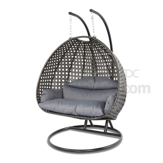 Peachy 2 Person Outdoor Wicker Swing Hanging Egg Chair With Stand Bralicious Painted Fabric Chair Ideas Braliciousco