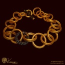 24K 22K Fine Gold Chain Necklace with Old Cut Diamonds (Greece)