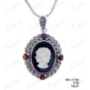 Antique Marcasite Pendant With Cameo and Genuine Garnet (Thailand)