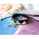 Leather Knitted Bracelet with Cross (Mainland China)
