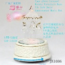 Junxin 3-horse Spun-glass Carousel Porcelain Base 10inchH Music Box Gift (China)