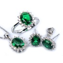 Synthetic Emerald Silver Jewelry Set (Hong Kong)