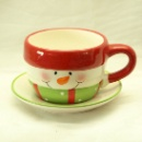 Ceramic Snow Man Cup & Saucer  (Hong Kong)