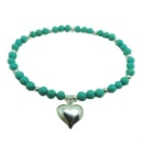 Sterling Silver Heart Charm, Beads, with Turquoise Bead Stretch Bracelet (Mainland China)