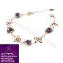 925 Silver 18KRose Gold Plated Vicacci Bauhinia Flower Bracelet with Heart-Shaped Swarovski Crystals (Hong Kong)