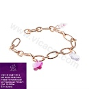 925 Silver Rose Gold Plated Simple Flower Bracelet with Swarovski Pendant (Hong Kong)