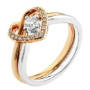 18K/750 White & Rose Gold Heart Diamond Set Ring (Hong Kong)
