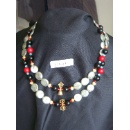 Long Pearl Necklace with Onyx Bead, Copper Pendant in Buddhism Motif (Hong Kong)
