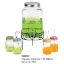 2 Gallon Mason Glass Jar Beverage Dispenser With Stand	 (Mainland China)