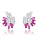 Genuine Rhodium Plated Earrings Baguette Ruby Red Cubic Zirconia Brass Earring (China)