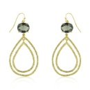 14k Gold Bonded Textured Tear Drop Earrings with Oval Cut Smokey Cubic Zirconia Silver Earring (Mainland China)