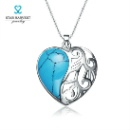 925 Sterling Silver Heart Necklaces With Turquoise Pendant Jewelry (Mainland China)