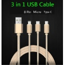 3 in 1 USB Charging Micro Cable (China)