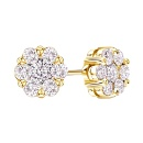 Real Diamond Cluster Earring in 14K Yellow Gold  (India)