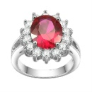 Bridal Ring Fashion Jewelry Ruby CZ Cubic Zirconia Princess Diana Engagement Rings for Women (China)