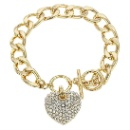 Heart Shape Bracelet Silver Bracelet Gold Plated with Shining Cubic Zirconia For Women (Mainland China)