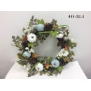 Wreath w/ White & Blue Pumpkins (Hong Kong)