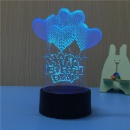3D Illusion Lamp Night Light Happy Birthday 7 Changing Colors (Hong Kong)