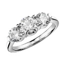 Three Stone Moissanite Diamond Engagement Ring In 925 Sterling Silver. (Hong Kong)