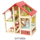 Wooden Doll House w/ 17 Accessories (Mainland China)