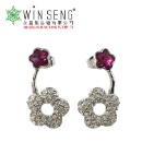 Silver Gravel Flower with Purple Crystal Earring Embellished (Hong Kong)
