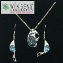 Brass Blue and White Gravel with Blue Oval Crystal Necklace and Earrings (Hong Kong)