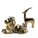 Ceramic Gold Color Lion and Goat (Hong Kong)