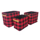 S/3 Rectangular Plaid Foldable Storage Laundry Hampers with Faux Leather Handles (Hong Kong)