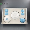 Blue with White Rabbit Jade Porcelain Coffee Cup Set  (Hong Kong)