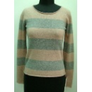 Ladies Merino Wool Cashmere Knitted Pullover with Stripes (Hong Kong)