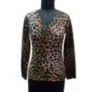 Ladies V Neck Digital Print Knitted Pullover (Hong Kong)