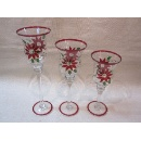 Set of 3pcs Glass Candle Holder with Poinsettia Design (Hong Kong)