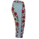 Leggings with Red Rose Pattern Print (China)