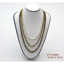 3 Rows Freshwater Pearl Long Necklace (Hong Kong)