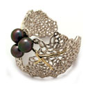 Silver and Gold Bangle with Tahiti Pearl (Philippines)