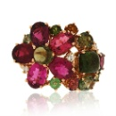 18K Rose Gold Tourmaline Diamond Ring  (Hong Kong)