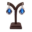 18k White Gold Blue Topaz Earring with Diamond (Thailand)