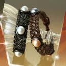 Leather Knitted Bracelets With Mabe Pearls  (Hong Kong)