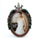 Beautiful And Luxury Oval Shape Peacock Decoration Metal Photo Frame /Picture Frame (China)