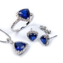 Synthetic Sapphire Silver Jewelry Set (Hong Kong)