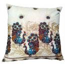 Hand Embroidered Indian Ethnical Theme Cushion Cover  (India)
