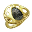925 Sterling Silver Ring with Gold Plated (Hong Kong)