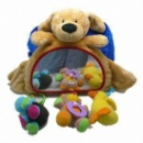 Car Headrest Cover with Mirror and Hanging Soft Toys, Made by Super Soft Velboa (Hong Kong)