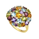 14K Yellow Gold Multi-Color Gemstones Ring (Hong Kong)