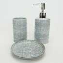 White Color Glaze Embossed Design Ceramic Bathroom Accessories (Hong Kong)