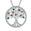 Tree of Life Pendant Sterling Silver Zircon Pendant with Rhodium Plated (China)