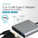 3-in-1 Type-C-to-USB3.0+HDMI + USB-C Adapter (Taiwan)