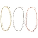 """Polyester string in Metallic Color set in silver clasp + 2"""" extender Necklace (Hong Kong)"""